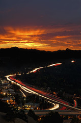 Walnut Creek Sunrise (Lee Sie) Tags: sky orange cars clouds sunrise lights lafayette traffic overpass freeway commute 24 eastbay lighttrails walnutcreek alamo 680 contracostacounty