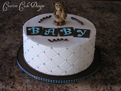 Buttercream Baby Shower (Christina's Dessertery) Tags: bear blue boy baby brown white cake shower monkey diamond sprinkles quilting binky pacifier buttercream paci nubi dragees