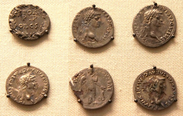 Suffolk forger's hoard of plated coins, detail of 6 coins various types of the emperor Claudius
