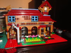 My first entirely imagined LEGO restaurant MOC WIP (brickbuilder711) Tags: old architecture train restaurant town european arch lego awesome restaurants wip american fortress culinary crossbow insult the moc beastiality