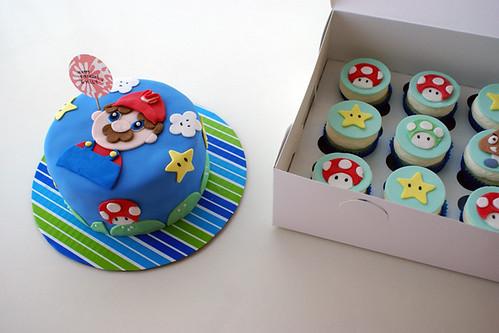 super mario bros cake and cupcakes!