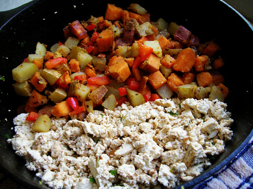 tofu scramble with sweet potato hash
