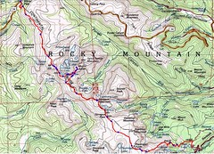 Topo Map of Milner Pass to Bear Lake Continental Divide Traverse