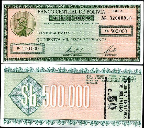 50 centavos, pretlač na 500000 pesos Bolívia 1987, P198