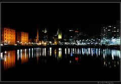 Albert Dock 1 (Brian Gort Wildlife Photography) Tags: city building water night liverpool docks reflections lights town dock nikon albert calm nightlife cobbles liver albertdock manfrotto merseyside d90 nikond90 055xprob 327rc2