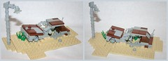 Beat Up Car (tin) Tags: old broken up car sand rust automobile desert lego rusty wip down worn beat lightpost moc