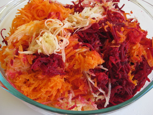 Grated beetroot, apple and carrot