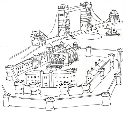 The Thames, the Tower Bridge and the Tower of London / sketch Robert Trudeau by trudeau