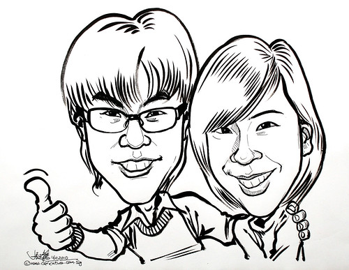couple caricatures in pen and brush 16112010