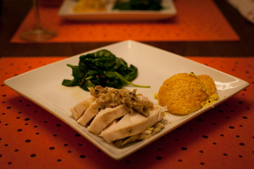 Sous Vide Chicken Breast with Truffle Butter, Corn Pudding and Wilted Spinach