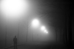 What lies ahead (Elios.k) Tags: street winter light blackandwhite mist man tree lamp weather horizontal fog night outdoors alone branch loneliness post walk thenetherlands groningen wandering visibility pedestrain movingforward selwerd