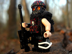 On The Edge (. soop) Tags: red orange black flesh woods gun lego mr rifle clip hazel ama sniper gasmask decal cloth beanie ammo soop sidan brickarms hcsr