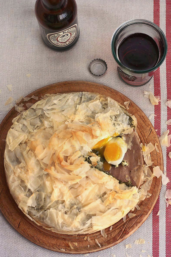 Phyllo Pie with Eggs and Winter Greens