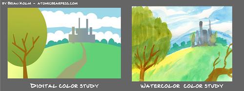 watercolor based digital color study 4