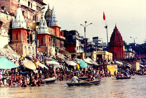 Ghats in Varanasi, seen from the Ganges