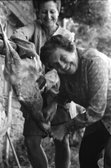 Let's kill chickens with  smile (teddy.harvest) Tags: france film lens 50mm europe hp5 f18 nikonfm nikkorais ilfosol3