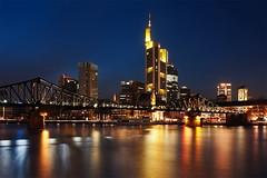Mainhattan - Frankfurt Skyline (mibreit) Tags: city light reflection skyline night germany lights licht cityscape hessen nacht frankfurt main stadt spiegelung mainhatten lichter