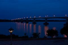 Spean Kazuna bridge (Florent Lanquetin) Tags: voyage travel bridge travelling water night river asia cambodge cambodia rivire pont asie southeast nuit mekong kampongcham sudest speankazuna