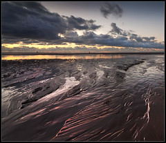 Hot and cold, Crosby beach (Ianmoran1970) Tags: red sky orange cloud colour beach wet sand place purple boots anthony another gormley muddyboots crobsy ianmoran ianmoran1970