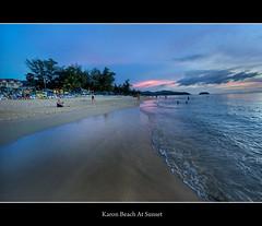 Karon Beach At Sunset (Mike Carter) Tags: sunset beach thailand nikon phuket karon 1424 d700