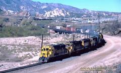 ATSF 3277, wb, Cajon Pass, CA. 1-22-1981 (jackdk) Tags: train railroad railway locomotive emd emdgp30 gp30 santafe atsf cajon cajoncalifornia cajonpass mountainpass freighttrain freight standardcab