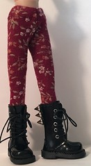Burgundy Tights With Flowers...For Blythe...
