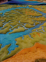 Amazing hand-sewn map, hand-dyed map