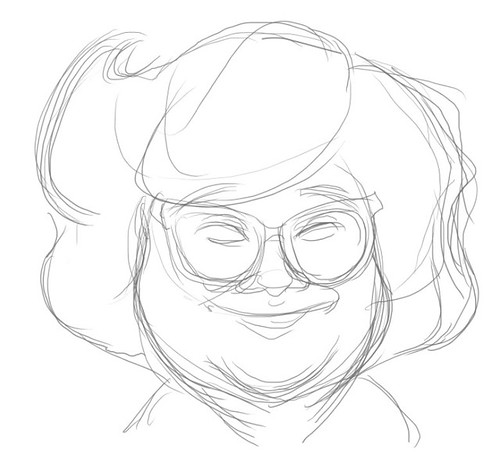 How to draw Lydia Shum caricature - step 1