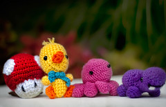 205/365: Amigurumi Pals! (pixelmama) Tags: crochet july craft yarn amigurumi 2010 purplehippo yellowduck project365 jackierocks mariomushroom 3652010 pinkoctupus