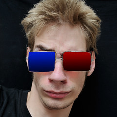 show blue boy red white cinema man silly color male eye film face fashion modern dark movie effects glasses see three stereoscopic 3d kid high eyes funny theater technology theatre expression watch young style anaglyph entertainment stereo vision cardboard illusion specs leisure eyeglasses dimension isolated eyesight stereoscope dimensional threedimensional