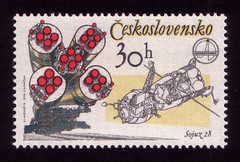 Sojuz 28, rockets and capsule (oliver.tomas) Tags: art print typography graphicdesign czech stamps ephemera spacetravel 1970s 1979 czechoslovakia postagestamps ceskoslovensko janmracek vladimírkovarík