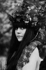 The Weird Girls (katrinolafs) Tags: trees girls bw woman white black flower nature girl mystery fairytale forest canon vintage dark naked nude 50mm weird iceland nudity