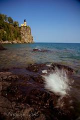 The splash by the lighthouse (Angiezpics) Tags: summer cliff water minnesota landscape rocks shoreline northshore splash mn lakesuperior splitrocklighthouse