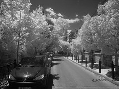 summer kifisia IR (g_athens [swaping]) Tags: street trees red summer bw sun cars ir athens greece infra    kifissia