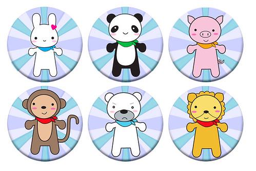 Kawaii Animals Badges