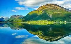 reflection country (werner boehm *) Tags: norway norwegen wernerboehm scandinavia fjord spiegelung natur nature water wasser wolken clouds himmel sky reflection