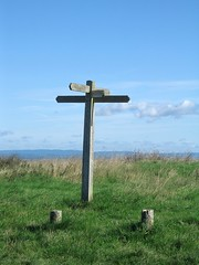 Fingerpost on the South Downs (Louise and Colin) Tags: uk england sky english grass sussex chalk westsussex britain path eu bluesky hills views british signpost flint southdowns southdownsway fingerpost storrington cumuluscloud southdownsnationalpark fairweathercloud