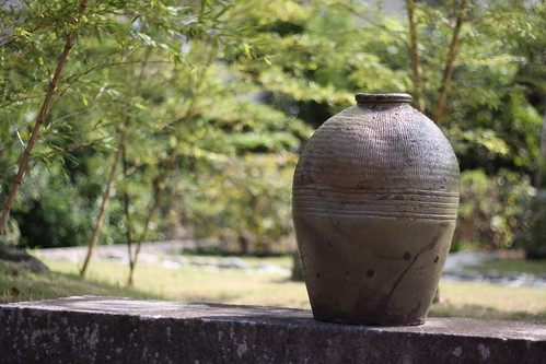 Vase and bamboo