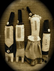 top hats (sepia) (cathy cullis) Tags: doll folkart stitch tophats naturaldyes