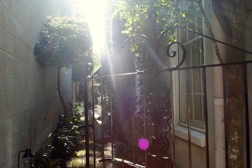 open gate, sun streaks