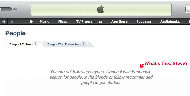 Oops! 'Connect with Facebook' message on iTunes Ping's 'People' screen