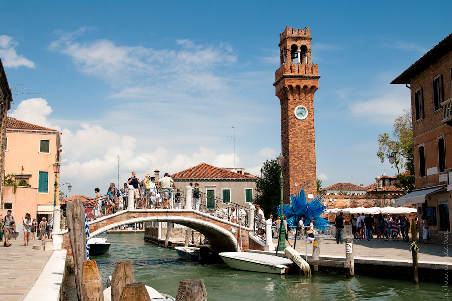 Tower and glass sculpture in Murano, Venice, Italy