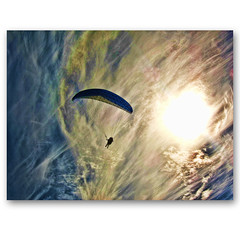 Icarus ... Paragliding over the cliffs .. no 2 (ZedZaP) Tags: sun kite clouds photoshop one flare paragliding hdr highdynamicrange paraglide photomatix platinumphoto topazadjust zedzap