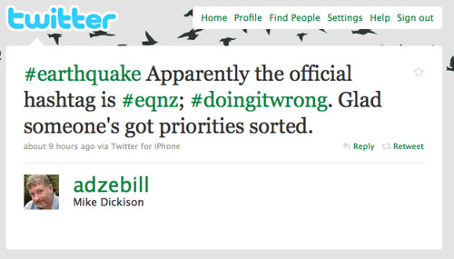 Encouraging the use of one hashtag #eqnz