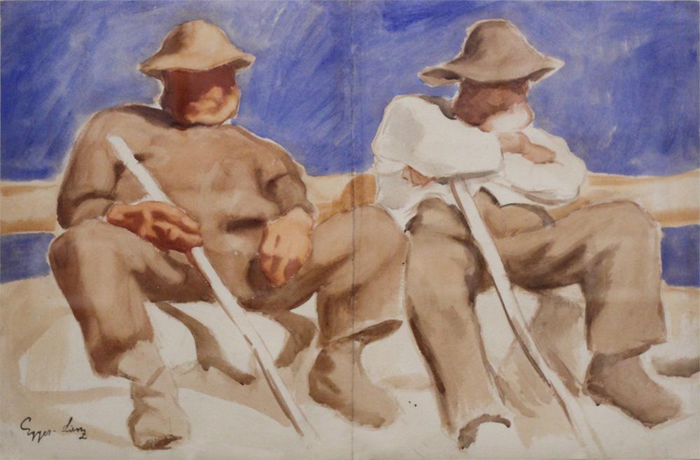 Albin Egger-Lienz, Ruhende Hirten [Resting Shepherds], 1918-23