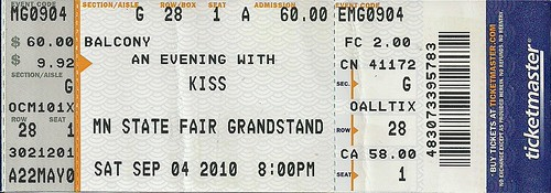 09/04/10 Kiss @ MN State Fair (Ticket)