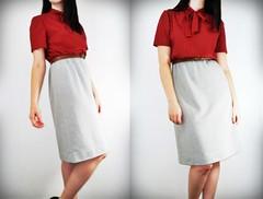 Red Grey Pussy Bow Dress_3-horz (lovetatianna) Tags: red vintage grey clothing dress maroon small medium granny deco madmen pussybow lovetatianna