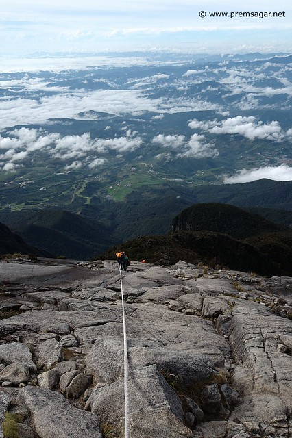 A climber going down Mt Kinabalu