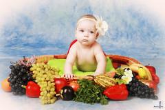 Passion Fruit (MissSmile) Tags: summer portrait baby color girl fruit kid child artistic creative harvest vivid blues grapes grape headbang misssmile