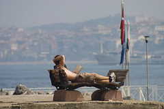 Reading at the Bosphorus (michael_hamburg69) Tags: shirtless man turkey bench reading asia asien europa europe urlaub trkiye sightseeing relaxing bank hunk istanbul september sunbath trkei journey mann bosphorus homme reise 2010 estambul boaz bosporus bosphore avrupa byzanz stambul bsforo kerl constantinopolis europeancapitalofculture kltr konstantinopel byzantion bakenti